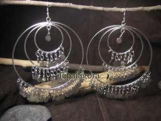 BIG Silver tone Belly Dance earrings