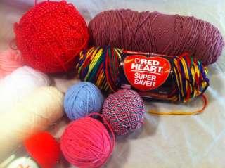 Lot 10 Yarn Skeins Balls Red Heart Crochet Crafts Knit Bargain