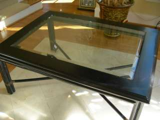 Maitland Smith Rectangular Black Bamboo Coffee Table