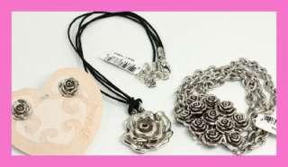 Brighton VELVET ROSE Bracelet Necklace Earring Set Pouch NWT