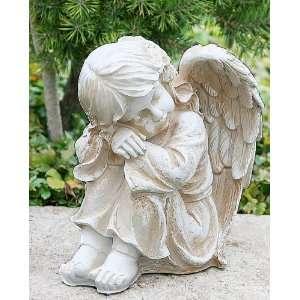 Engelsmädchen Engelfigur sitzend NEU OVP: .de: Garten