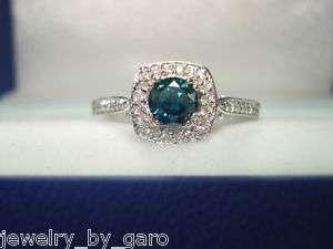 14K WG BLUE & WHITE DIAMOND ENGAGEMENT RING 0.77ct