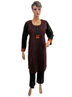 Women Tunic Top Magenta Printed Black Cotton Kurti S 258692834698