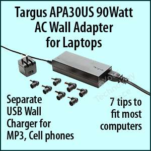 TARGUS 90 Watt Universal Laptop AC Wall Adapter APA30US