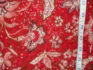 FabriQuilt Retro Red Floral Double Sided Quilted 100% Cotton Fabric