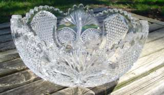 ANTIQUE ABP SIGNED FRY CUT GLASS BOWL AMERICAN BRILLIANT
