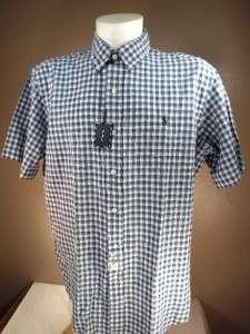 NWT POLO RALPH LAUREN XL SS Navy Plaid Cotton CLASSIC FIT Sport Shirt