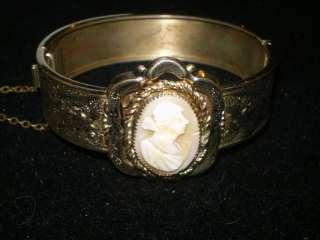 GOLD SHELL CAMEO WOMAN FLORAL MOTIF c1890 RARE Bracelet