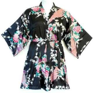 Plus Size XXL Peacock Japanese Kimono Short Silky Sleep Robe Black