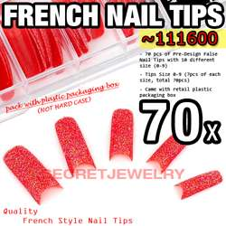 70 pcs Acrylic French False Nail Tips 20 Glitter Design