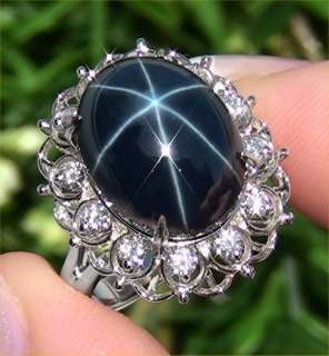 18.49 ct Natural Blue Star Sapphire Diamond Ring 14k White Gold