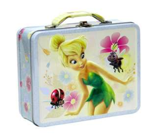 Disney Tinkerbell Children School Embossed Tin Metal Tote Lunch Box