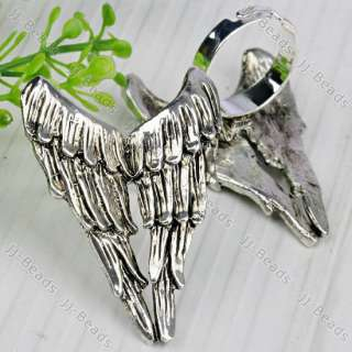 1pc Silver Plated Angel Wing Silvery Adjustable Ring *