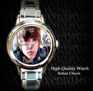 New Justin Bieber Autograph Italian Charm Watch Gift