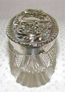 terling silver vanity jar up for auction is an antique dressing table