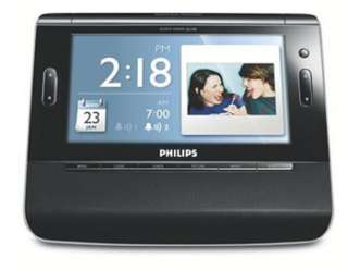 PHILIPS ALARM CLOCK RADIO w/ 7 LCD DISPLAY USB SD CARD SLOT MP3 WMA