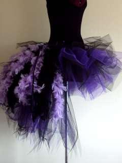 Burlesque Tutu Skirt Purple/Black Bustle Feathers14 18