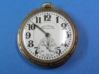 ILLINOIS 21J 60 HOUR DIAL BUNN SPECIAL RAILROAD POCKET WATCH WORKS