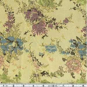 44 Wide Oriental Brocade Fabric Peony Gold By The Yard