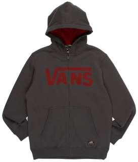 Vans Classic Zip Fleece Hoody Gravel/Rio Red