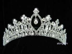 A80 Bridal Sparkling Rhinestone Crystal Crown Tiara UK