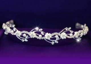 Bridal Crystal Rhinestone Faux Pearl Tiara Comb T1045