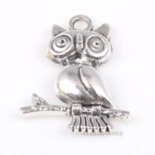 20/100pcs Tibetan Silver Owl Charm Pendants Lovely 141B 24x18mm