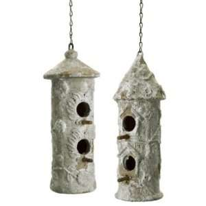 IMAX Weathered Concrete Hanging Bird Houses Set Of Two