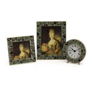 IMAX Jeweled Fairfax Rectangle Frames And Round Clock Set