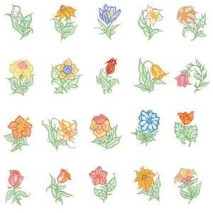 Viking 1+/Rose/Iris Embroidery Machine Card FLOWERS 2