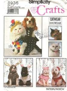 Simplicity Dog/Cat Clothes Pet Clothing Sewing Pattern