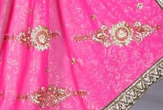 Rose fuchsia Indien Sari Saree Ventre Danse ROBE Stoff
