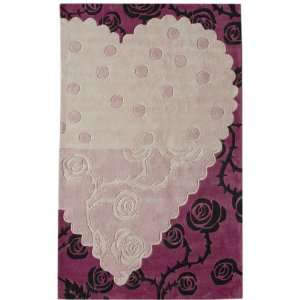Fun Area Rugs Pink 5 x 8 Hand Tufted Heartful Rose Furniture