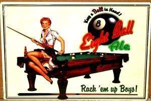 plaque publicitaire billard 8 ball pin up hot rod rare