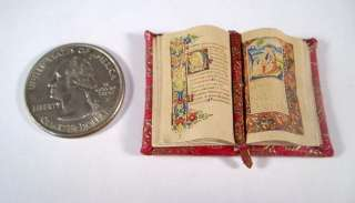 Miniature Medieval Gold Illuminated Open Book OOAK Dollhouse Mini Book