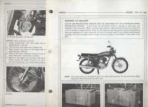 Honda CG125 (1976) Set Up Manual CG110,CG 125/110