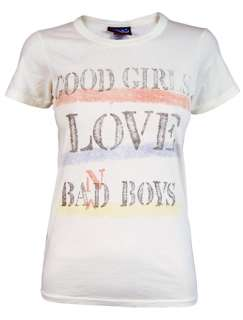 Girls Love Bad Boys Womens T Shirt Junk Food New Retro White