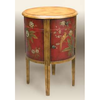HeatherBrooke Burma Parrot Round Drum End Table   A5375 202
