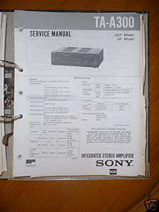 Service Manual Sony TA A300 Amplifier,ORIGINAL