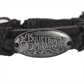 Bracelet Noir Tribal Cuir Ethnique Bullet For My Valentine
