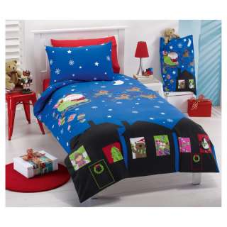CHRISTMAS SANTA Glow Single Quilt Cover Set/Santa Sack