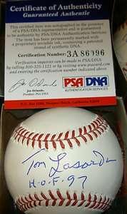 TOMMY LASORDA AUTOGRAPH SIGNED MLB BASEBALL HOF PSA/DNA