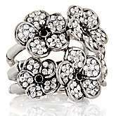 Niecy Nash Collection Clear and Black Crystal Antique Flower Ring