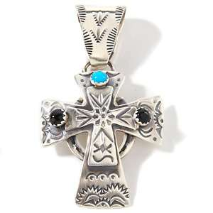 Turquoise and Gemstone Sterling Silver Cross Pendant