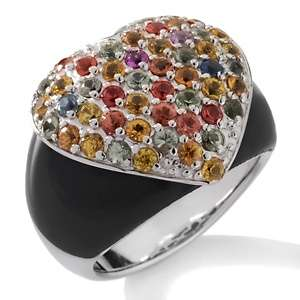Sima K Colors of Sapphire and Onyx Sterling Silver Heart Ring