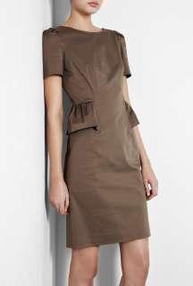 Moschino Cheap & Chic  Brown Peplum Frill Cotton Pencil Dress by