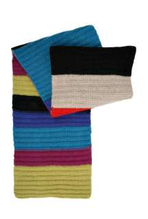 Multi Coloured Stripe Hand Knit Scarf by Paul Smith Accessor