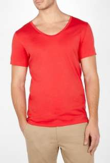 Acne  Red Scoop Neck Limit T Shirt by Acne