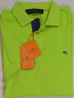 ETRO POLO $325 BRIGHT GREEN/PURPLE 2 BTN LOGO SIGNATURE POLO SHIRT XXL