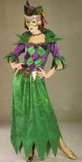 Mardi Gras Madness Costume includes Green Crushed Velvet Dress with